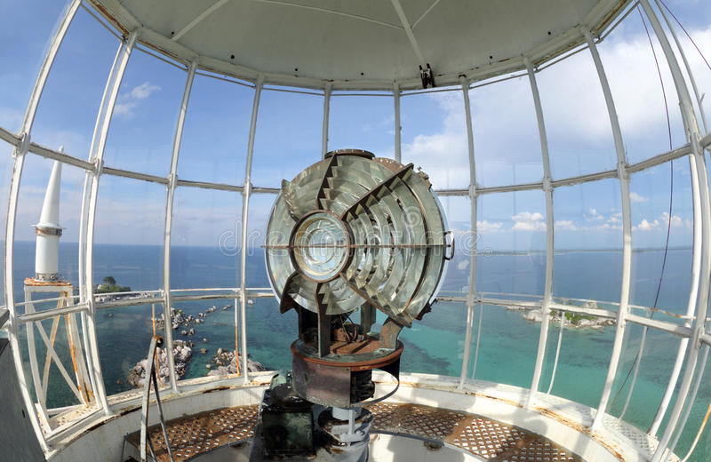 The light of lighthouse beacon. Large fresnel lens of lighthouse beacon stock image