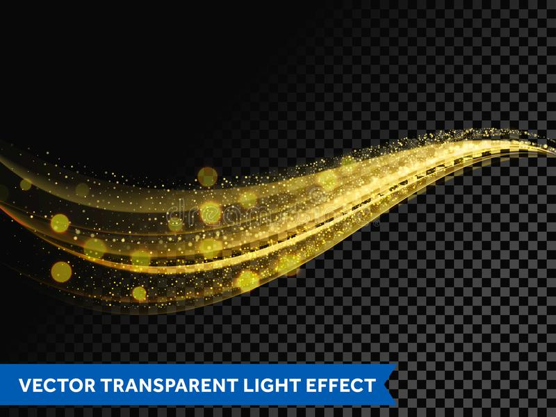 Light line gold effect light glitter wave line with sparkling particles vector illustration