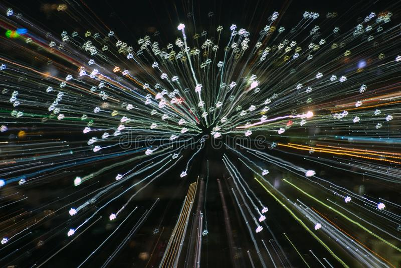 Blast zoom effect , light lines with long exposure stock image
