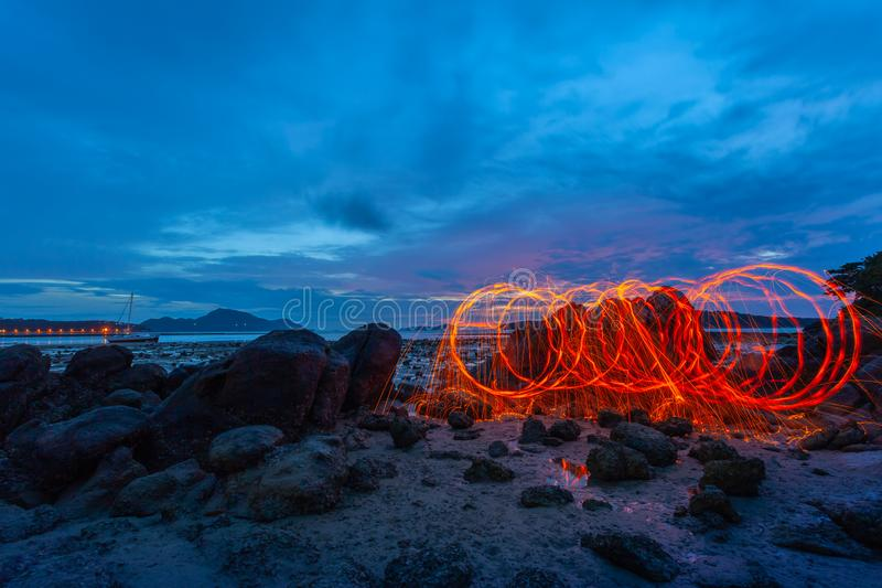 light lines of steel wool with long exposure stock image