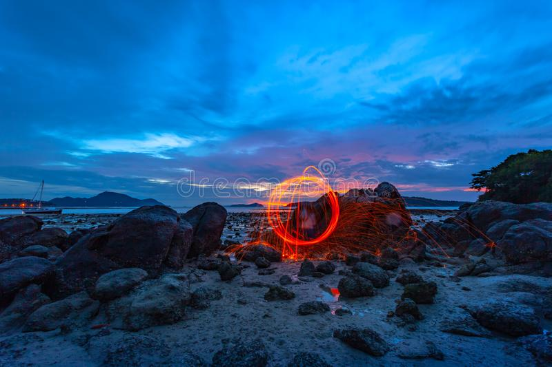 light lines of steel wool with long exposure royalty free stock photography