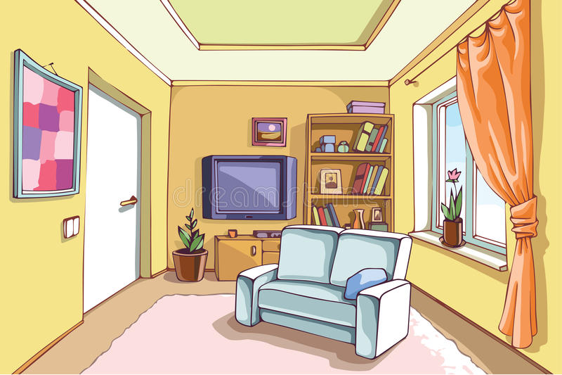 Light Living Room. The light interior of a living room in a bright sunny day. The layered vector EPS v10. Enjoy