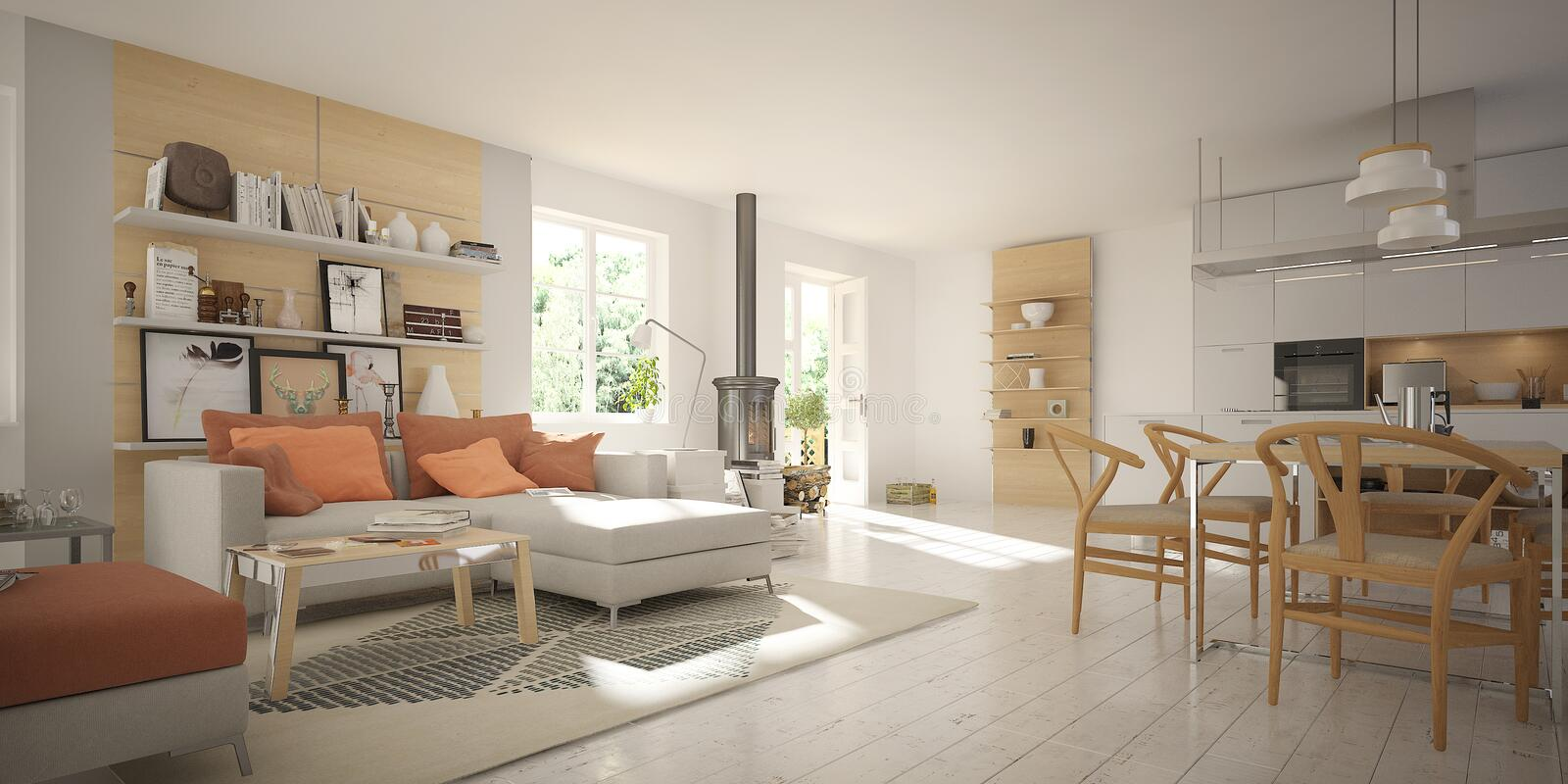 Light living room in scandinavian style with fireplace royalty free stock photo