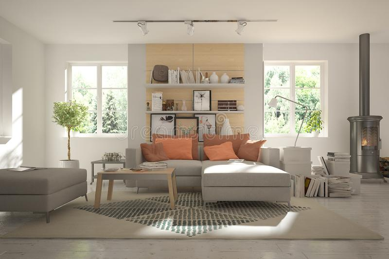 Light living room in scandinavian style with fireplace stock photography