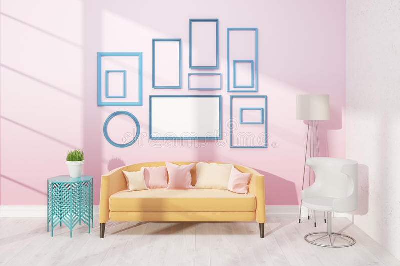 Light living room with sofa royalty free illustration