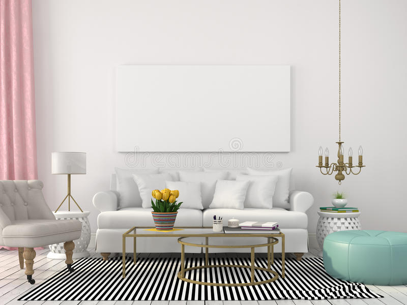 Download Light Living Room In White And Pastel Colors Stock Photo