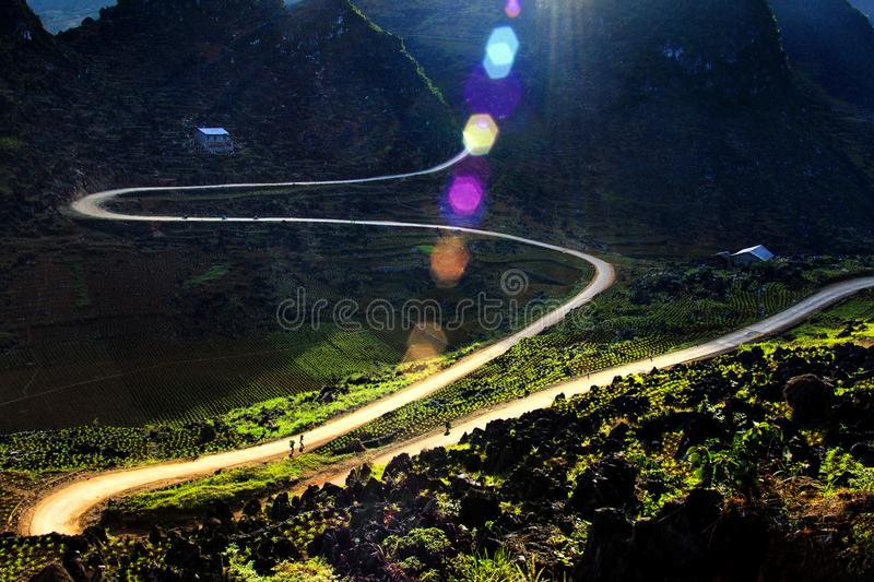 The light of the mountain. M is the road from Yen Minh to Meo Vac in Ha Giang province, Vietnam royalty free stock photography