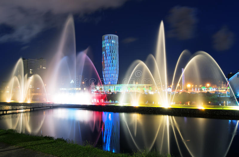 Light and music fountain in Batumi. stock images