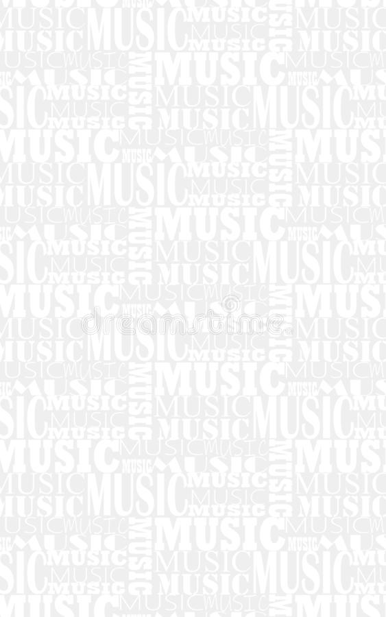 Light musical background with the words music in different fonts. Beautiful light musical background with the words music in different fonts royalty free illustration