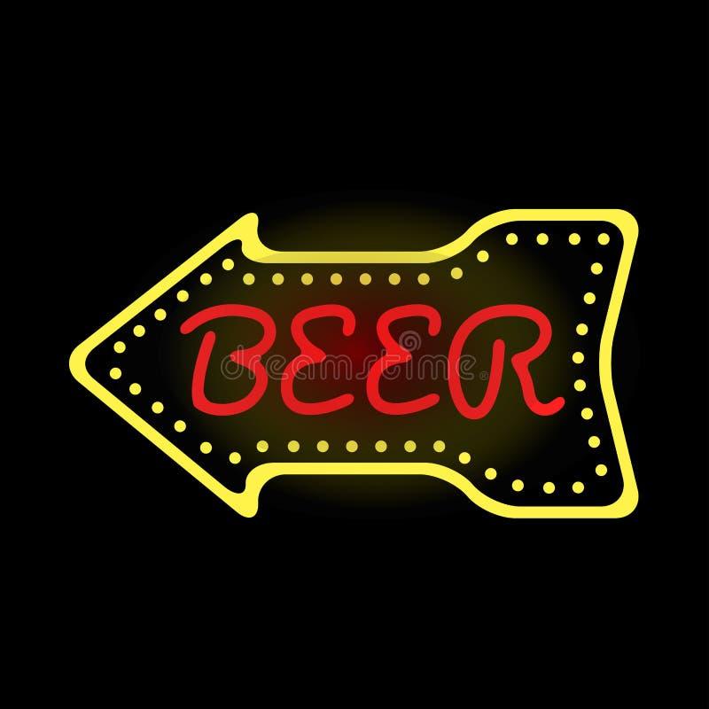 Light Neon Beer Label Vector Illustration Stock Vector