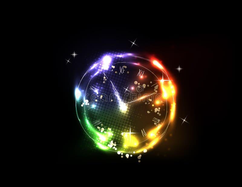 Light neon clock background vector illustration