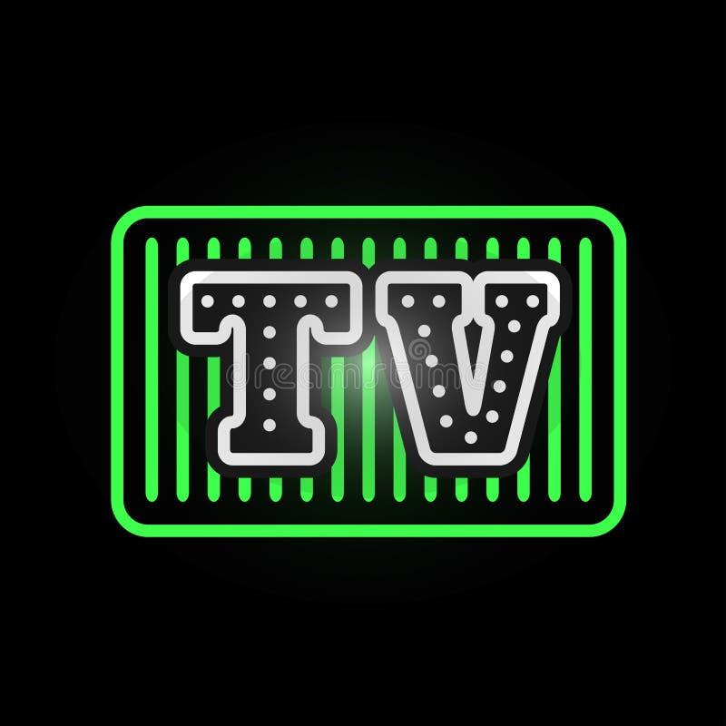 Light neon tv label vector illustration. Shop font decorative symbol night bright decoration. Vegas shape abstract text objects entrance element stock illustration
