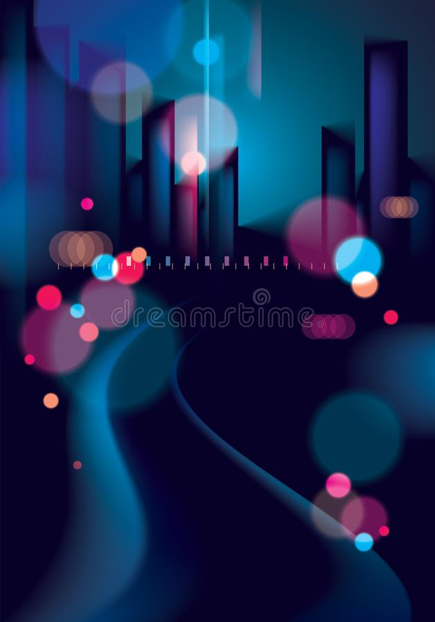 Light night at city, bokeh abstract background blurred lights. E. Ffect vector beautiful background. Blur colorful dark background with cityscape, buildings stock illustration