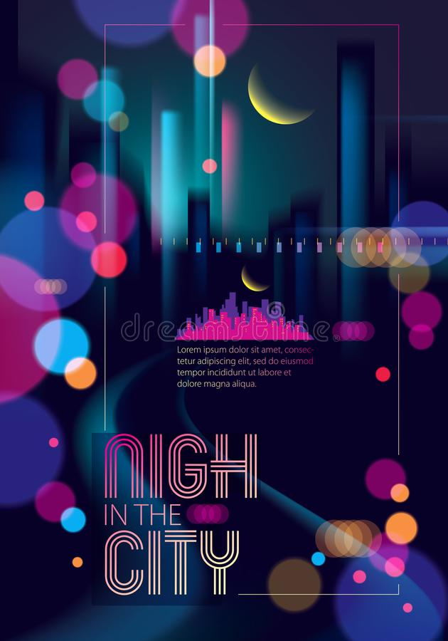 Light night at city, bokeh abstract background blurred lights. E. Ffect vector beautiful background. Blur colorful dark background with cityscape, buildings royalty free illustration