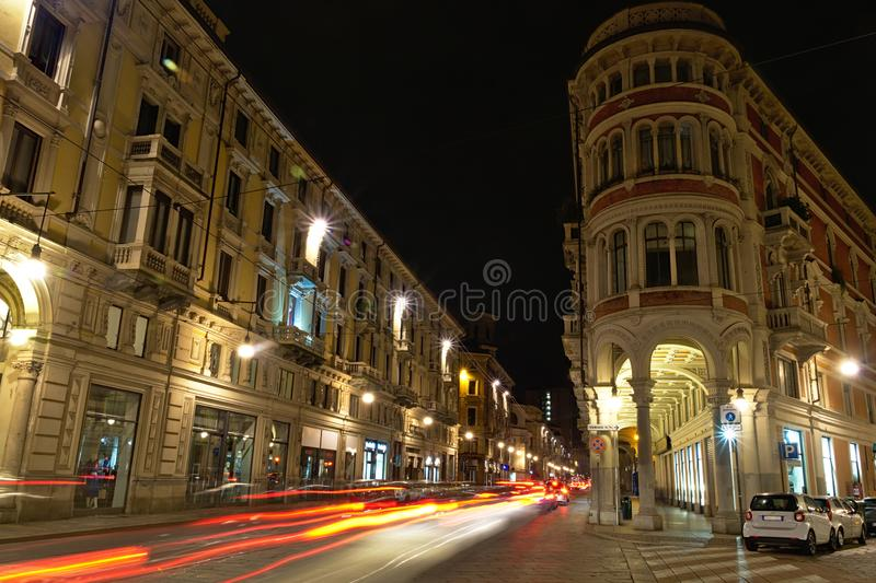 Light. Night city traffic longexposure royalty free stock image