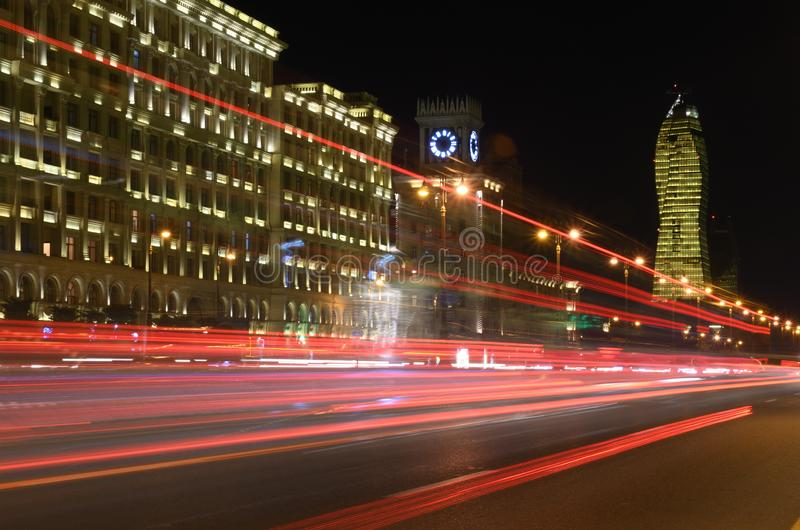 Heydar Aliyev Avenue in the evening.Baku,Azerbaijan. Light on the night Heydar Aliyev Avenue.Baku,Azerbaijan royalty free stock image