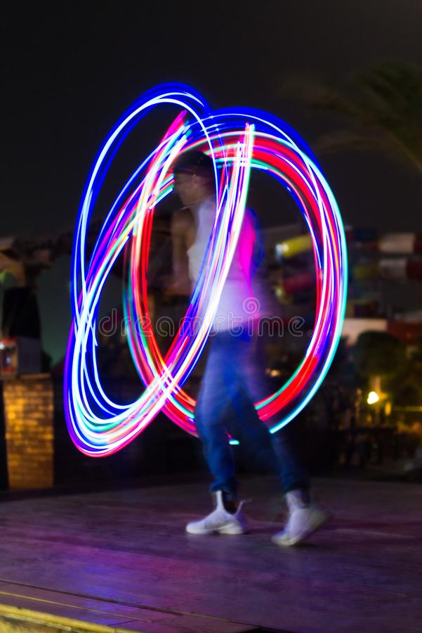 Light night show abstract color lines royalty free stock image