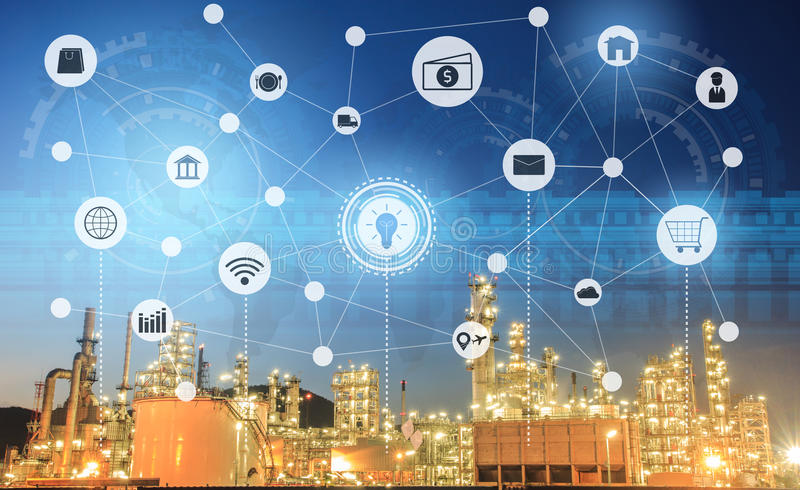 Light oil refinery at twilight with physical system icons diagram on industrial factory. Industry on technology 4.0 concept. Support with double exposure stock image