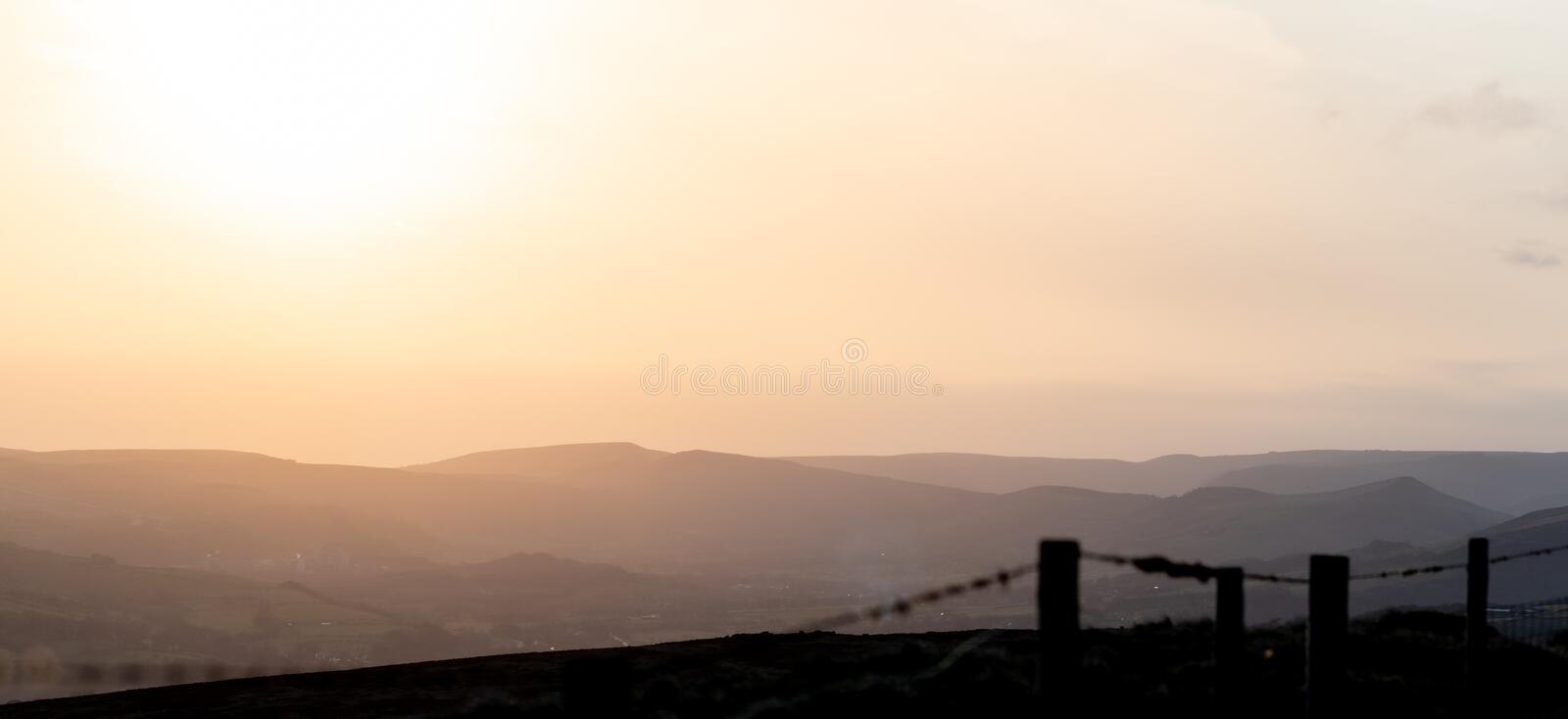 A beautiful tranquil sunset over the Peak District National Park, UK royalty free stock image