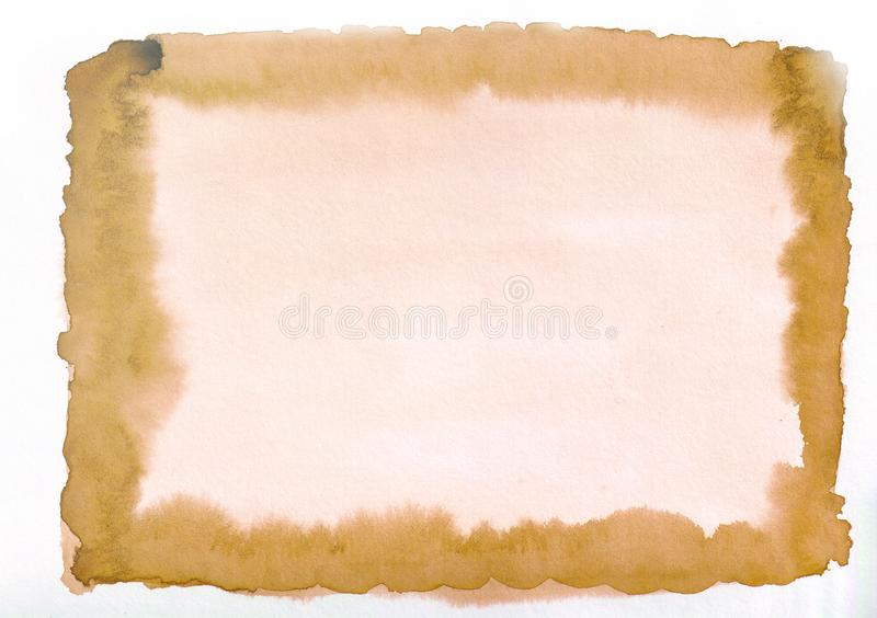 Light orange watercolor gradient rectangular canvas. Beautiful abstract background for designers, mock-ups, invitations, postcards royalty free illustration