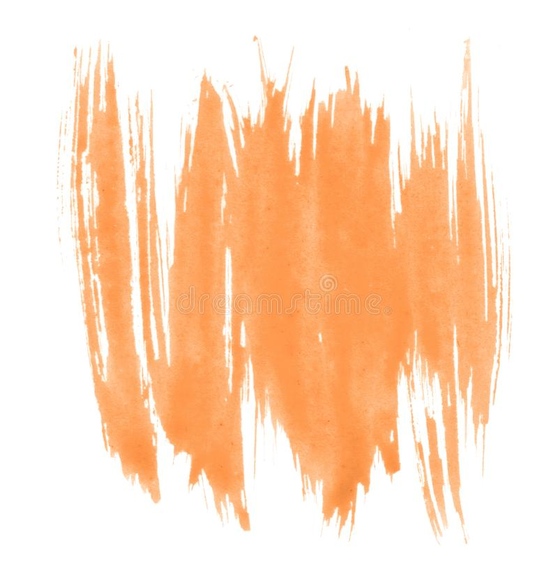 Light orange watercolor hand-drawn isolated wash stain on white background for text, design. Abstract texture. Made by brush for wallpaper, label royalty free illustration