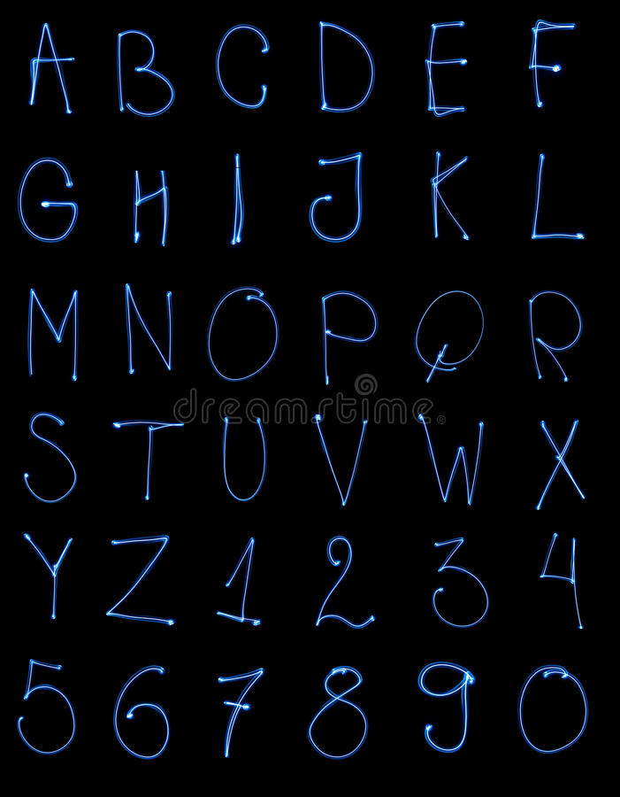 Light painted abc. Light painted alphabet and numbers stock photos