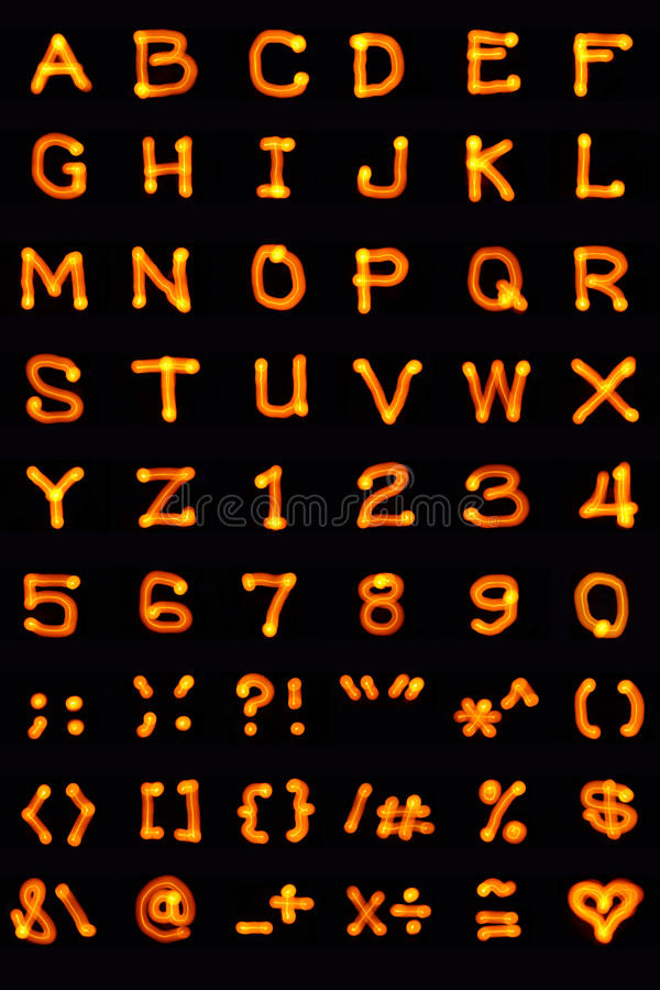 Light-painted-alphabet. Light painting photo of English alphabet characters and symbols stock images