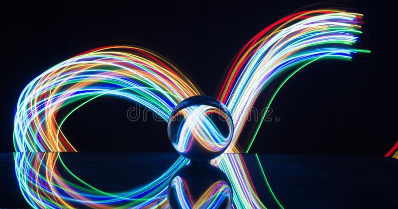 Light painting with crystal ball royalty free stock image