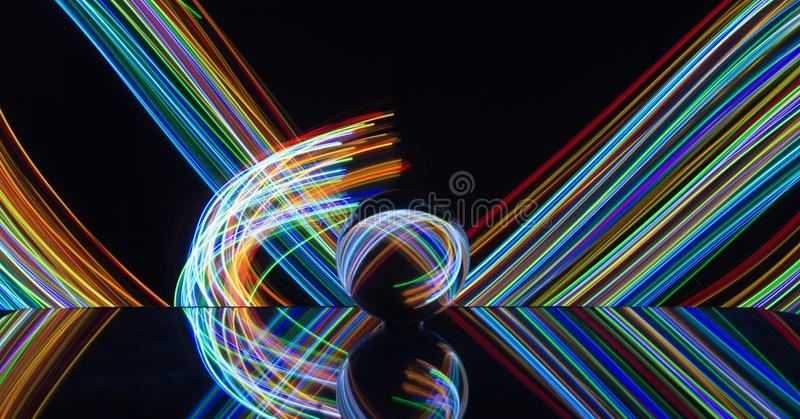 Light painting with crystal ball stock photography