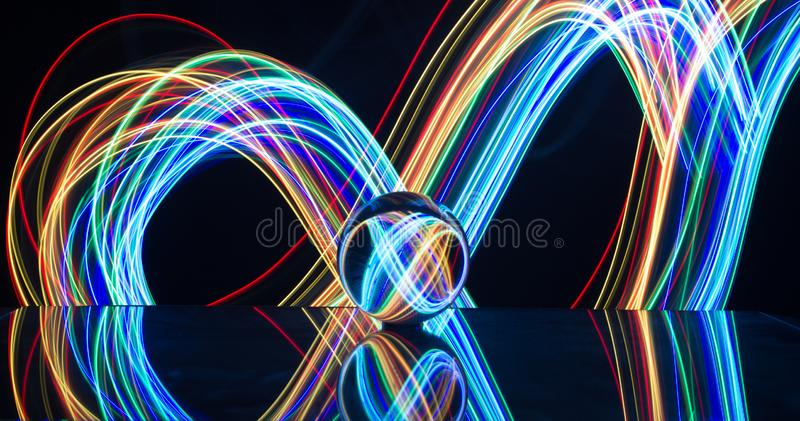 Light painting with crystal ball stock photos