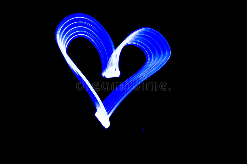 Light painting Love Heart shape stock image