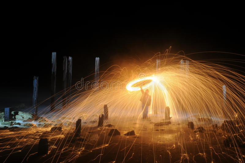 Download Light Painting stock image. Image of fiery, burning, beach - 32337715