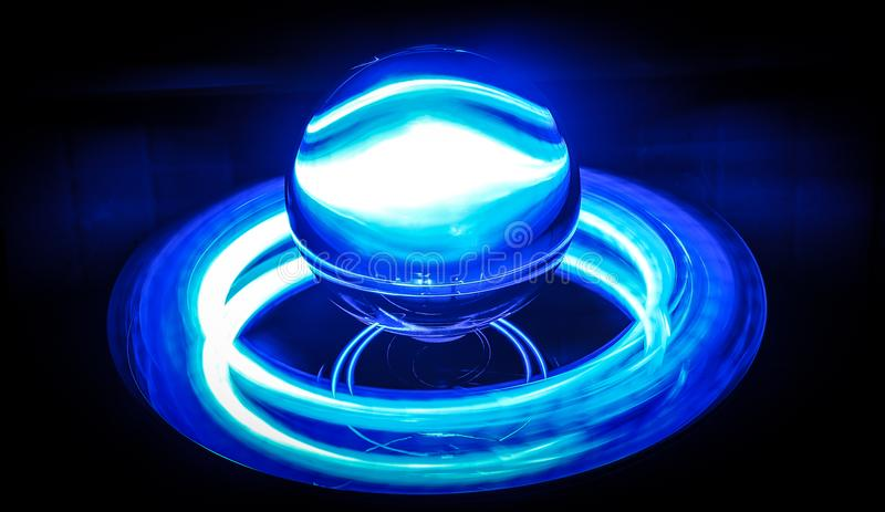Neon sphere blue white stock photography