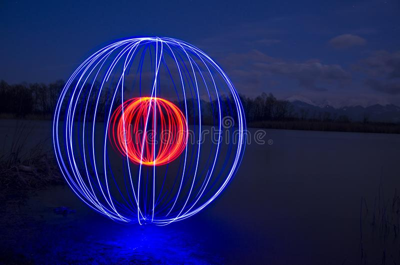 Light painting in water royalty free stock images