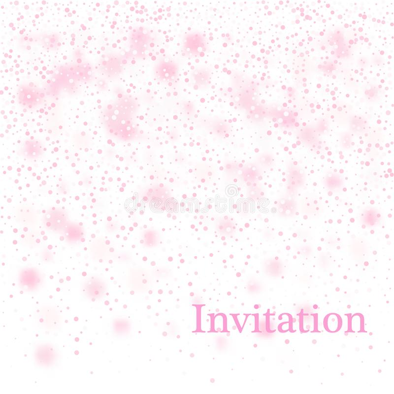 Light pink abstract Christmas background with white snowflakes.Vector design. stock illustration