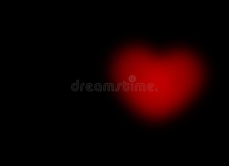 Vivid Red Bokeh Blur Heart on black Background love pain sorrow Greeting card gradient Illustration. Computer Graphic design stock illustration