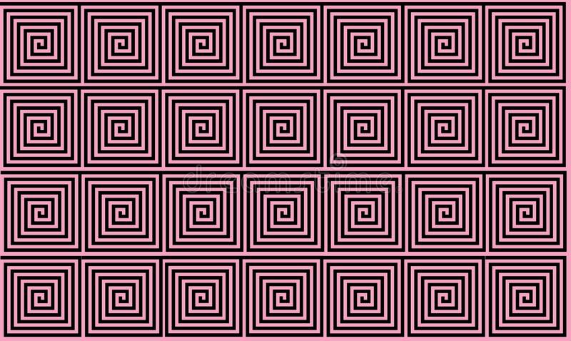 Light Pink and Black Ancient Greek meander seamless pattern, simplistic black historical background. Geometric Optical Illusion royalty free illustration