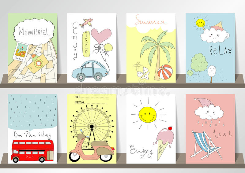 Light pink blue green collection for banners, Flyers, Placards stock illustration
