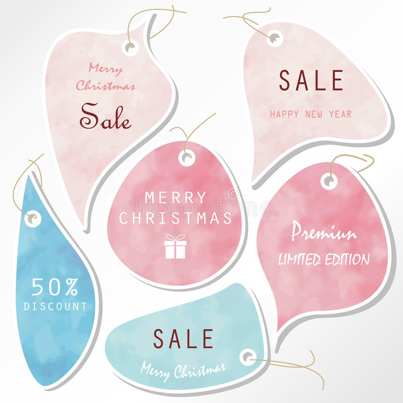 Light pink blue tag on christmas holiday with rope. And gift box icon royalty free illustration