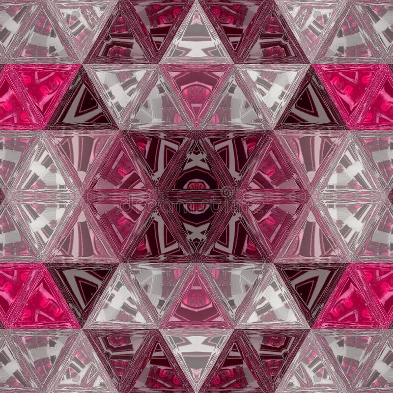 Light pink, coral and white transparent mosaic stained glass backdrop with lines, triangles. Modern abstract illustration with. Triangles royalty free illustration