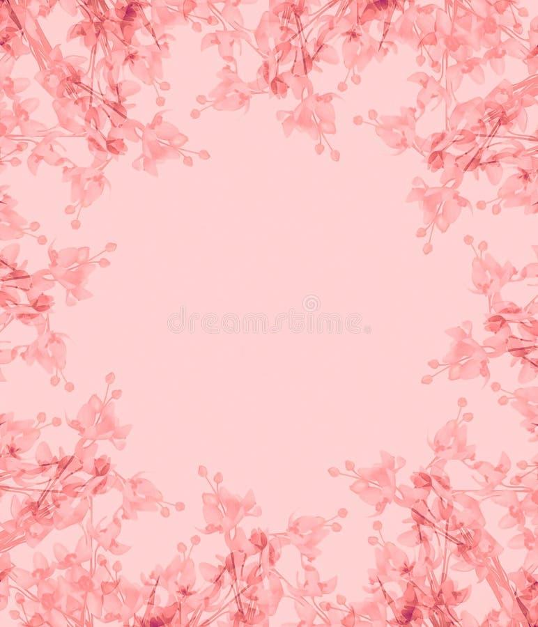Light Pink Flowers Photo Frame royalty free illustration