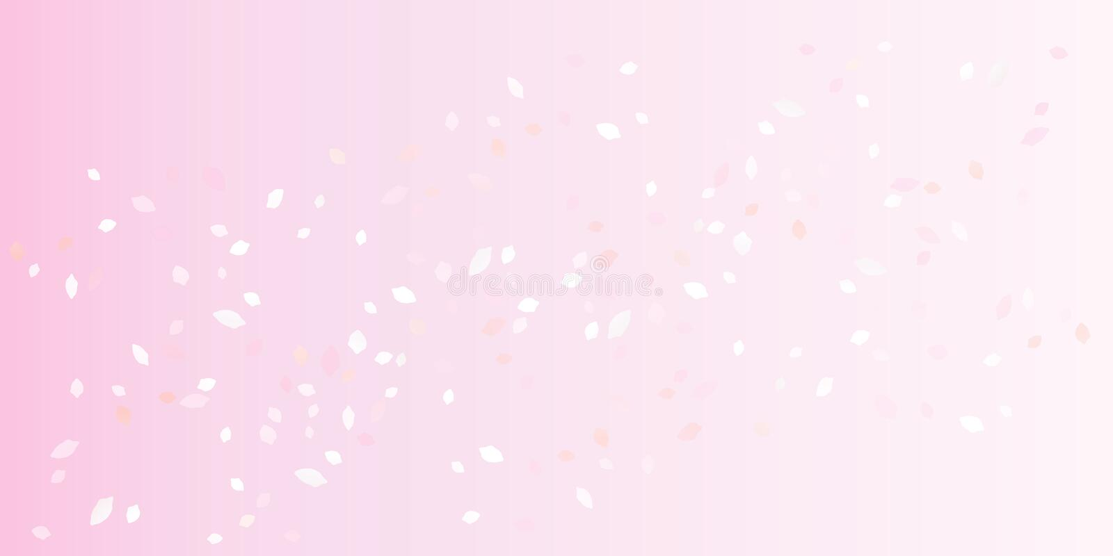 Light Pink flying petals isolated on soft Pink gradient background. Sakura Roses petals. Vector royalty free illustration