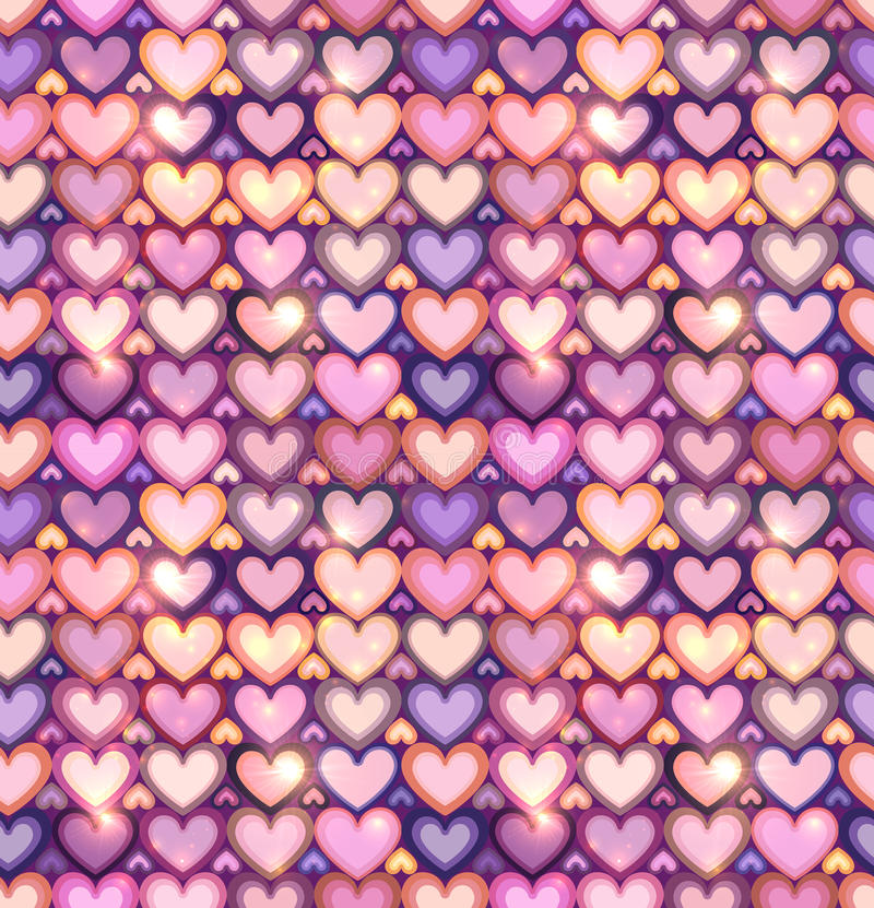 Light pink hearts shining seamless pattern stock illustration