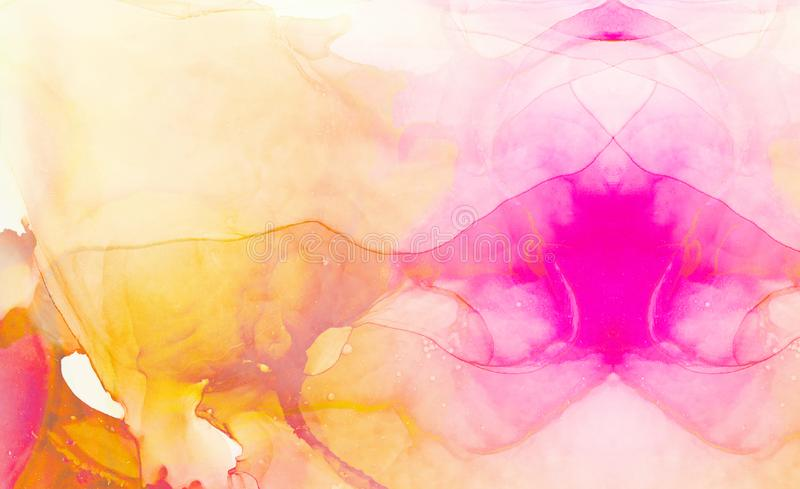 Light pink and orange alcohol ink abstract background. Flow liquid watercolor paint splash texture effect illustration for cards stock illustration
