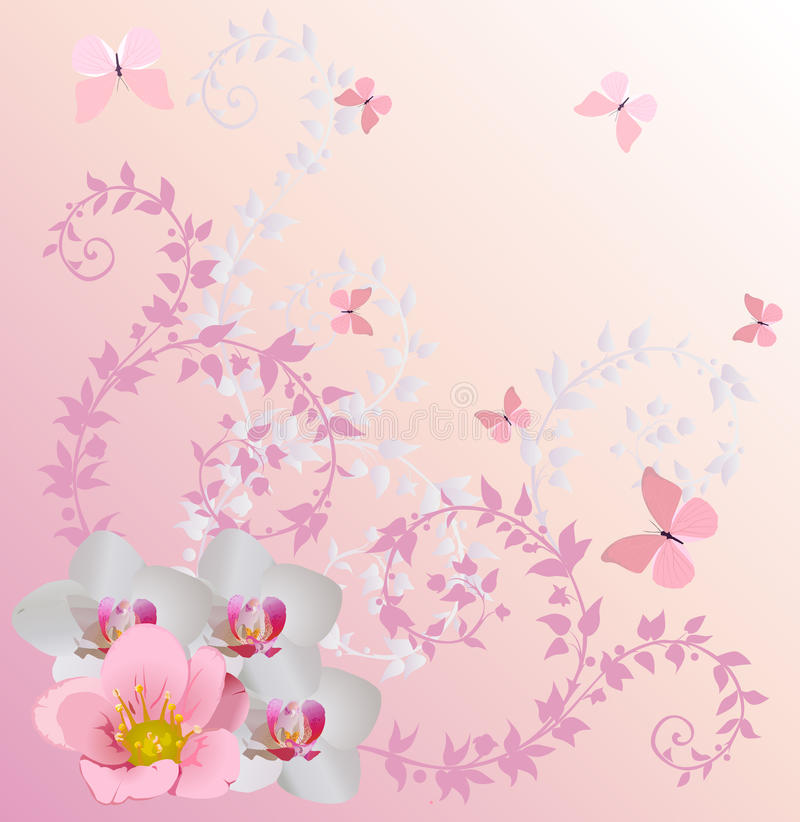 Download Light Pink Orchid Decoration And Butterflies Stock Vector - Image: 17586430