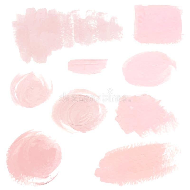 Light pink pastel acrylic brush strokes, delicate textures for logo, decoration, wedding invitation stock illustration
