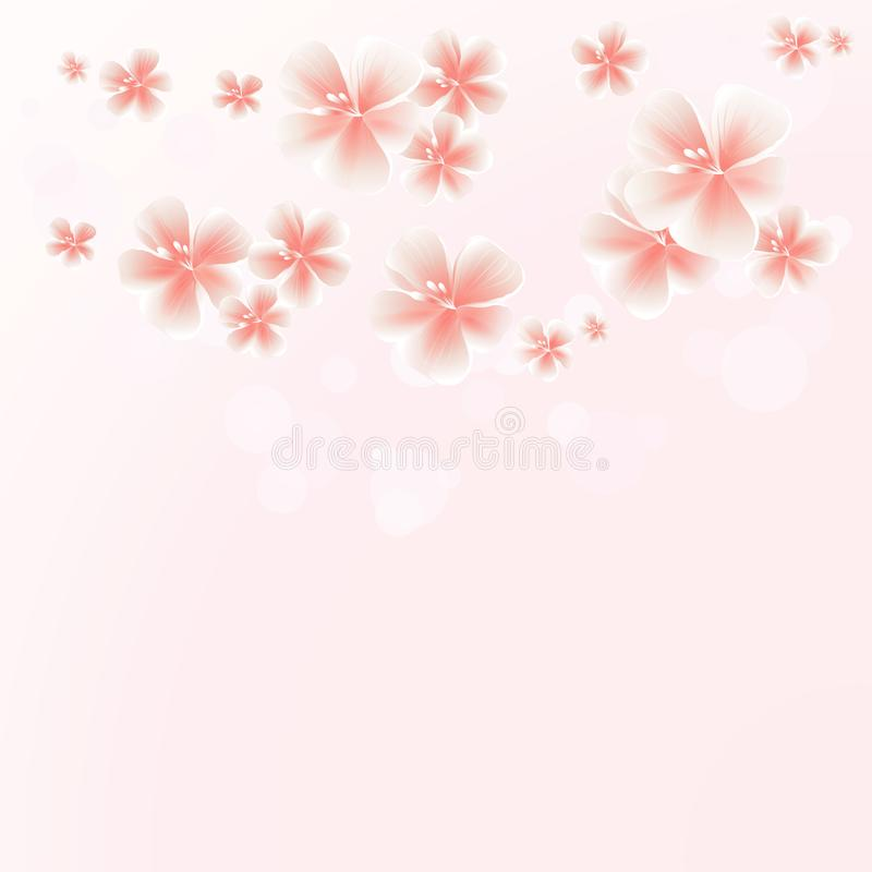 Light Pink Peach flowers border on Pink bokeh background. Apple-tree flowers. Cherry blossom. VectorEPS 10 cmyk.  vector illustration