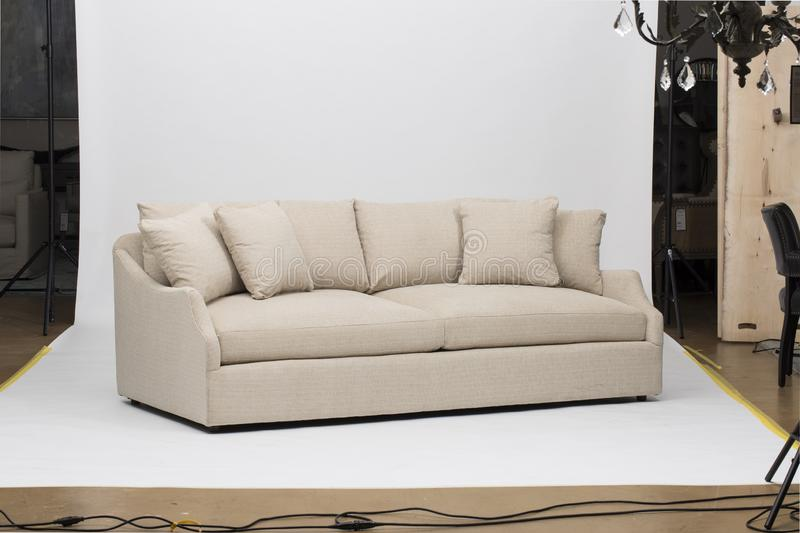 Light pink sofa/sofa bed, Christine Light Gray Loveseat, white and pink pillow with white background - Image. N stock photos
