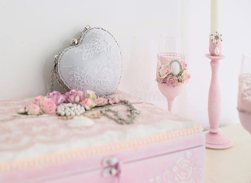 Light pink wedding accessories. Boxes, handbag royalty free stock images