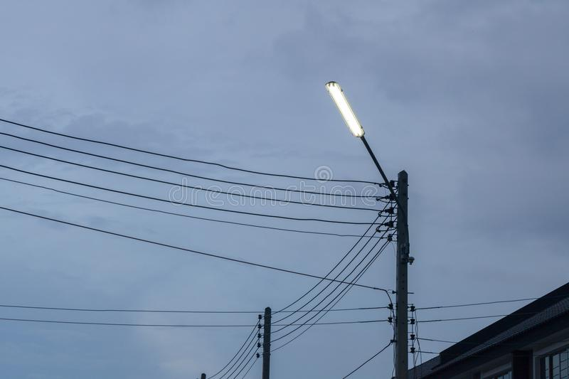 Light pole in the evening. In thailand stock photography